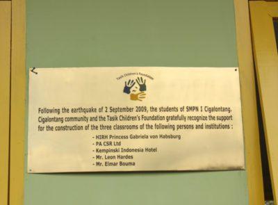 Plaque at SMPN I Cigalontang in Tasikmalaya, 2010