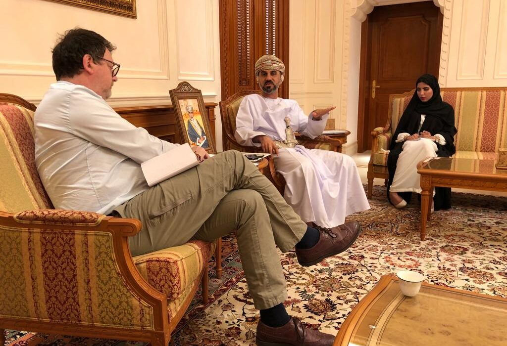 Discussing democracy with the Chairman of Oman's Majlis A'Shura, Khalid Hilal Nasser Al Maawali, in Muscat; left: Brian Johnson of the Brussels-based The Parliament Magazine; right: Assistant to the President Ms. Miysaa Alshibli. (February 2019)