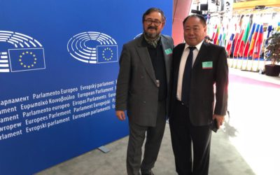 PA's Rio Praaning Prawira Adiningrat and Dr Qin Zhenkui in the European Parliament in Strasbourg, 11 September 2018