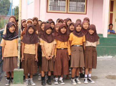 School girls in Tasikmalaya sing songs in English; their school receives TCF funding for refurbishment and/or additional teaching materials to promote the teaching of English